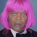 Samuel L. Jackson as Nicky Minaj in a pink wig
