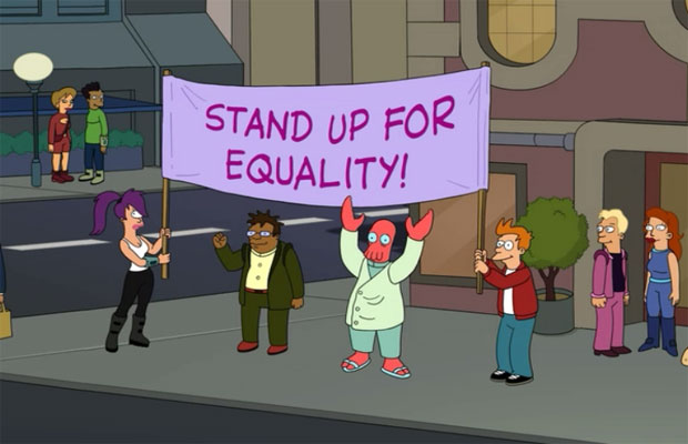 Gay Marriage Vs. Traditional Marriage Supporters On Futurama
