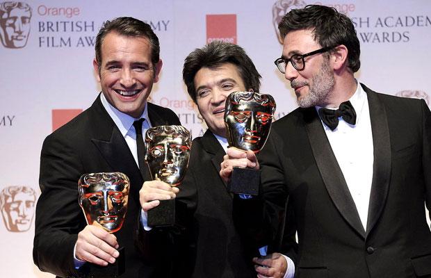 Actor Jean Dujardin, producer Thomas Lang Mann and director Michel Hazanavicius