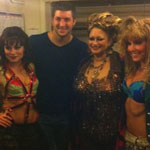 Tim Tebow with Rock of Ages Broadway actresses