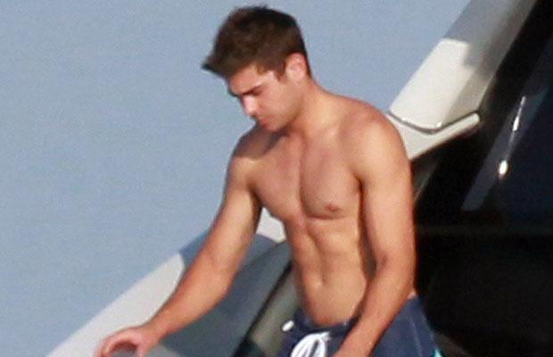 Zac Efron shirtless in St. Tropez, July 2012